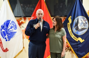 Vice President of the United States Michael Pence and his wife Karen speak to service members and their families Nov. 18, 2018, at Andersen Air Force Base, Guam. The Vice President and his wife Karen visited the base to meet with Airmen and their families before the holidays. (U.S. Air Force photo by Senior Airman Christopher Quail)
