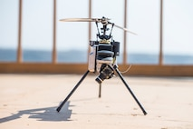 A Lattice Modular Heli-Drone is displayed during a test run of the Lattice Platform Security System at the Red Beach training area, Marine Corps Base Camp Pendleton, California, Nov. 8, 2018. The Lattice Modular Heli-Drone was being tested to demonstrate its capabilities and potential for increasing security.