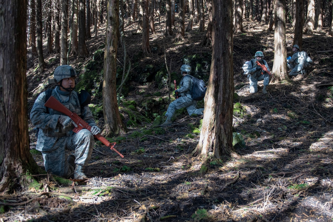 Airmen from the 374th Security Forces Squadron take cover behind trees while the team lead determines their course during a field training exercise at Camp Fuji, Japan, Nov. 8, 2018.