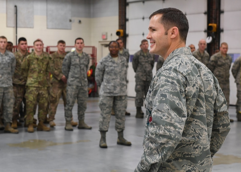 U.S. Air Force Lt. Col. Jeremy Oldham, 633rd Civil Engineer Squadron commander, speaks to Airmen before they begin Prime Base Engineer Emergency Force training at Joint Base Langley-Eustis, Virginia, Nov. 15, 2018.