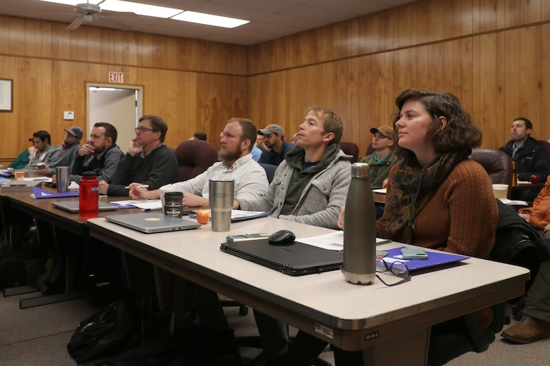 Consultants, Tennessee Department of Environment and Conservation, and Corps of Engineers employees receive information on restoration goals and objectives during a training session on the Tennessee Stream Quantification Tool Nov. 15, 2018 at the U.S. Army Corps of Engineers Regulatory Division located at J. Percy Priest Lake in Nashville, Tenn. (USACE photo by Ashley Webster)