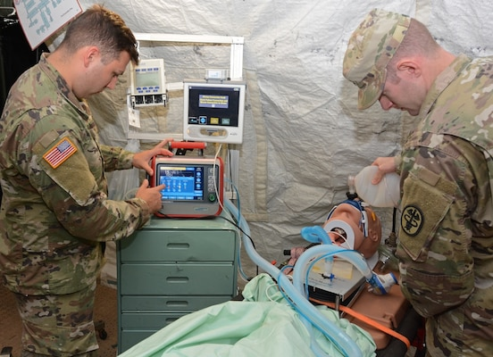 Medical Soldiers test the intrathoracic pressure regulation therapy device at Joint Base San Antonio-Camp Bullis Nov. 7.