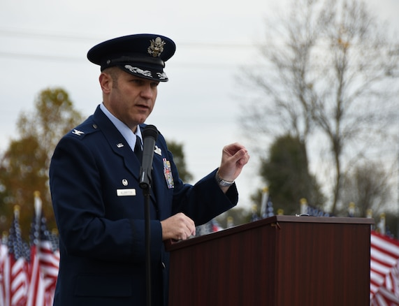 Col. Keith Allbritten, commander of the 118th Wing, gives the keynote address at a Veterans Day weekend event on Nov. 9, 2018 in Hermitage, Tennessee.