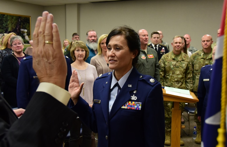 Lt. Col. Linda Kieser, a special projects officer with the 118th Wing, takes the oath of office at her promotion ceremony on Nov. 3, 2018 at Berry Field Air National Guard Base, Nashville, Tennessee.