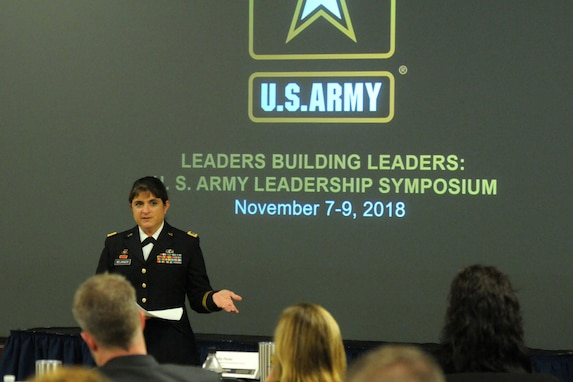 Brig. Gen. Kris A. Belanger, center, commanding general of the 85th United States Army Reserve Support Command, discusses her personal Army story to educators, principals and counselors during the 2018 U.S. Army Leadership Symposium held at Fort Leavenworth, Kansas, November 7-9, 2018.