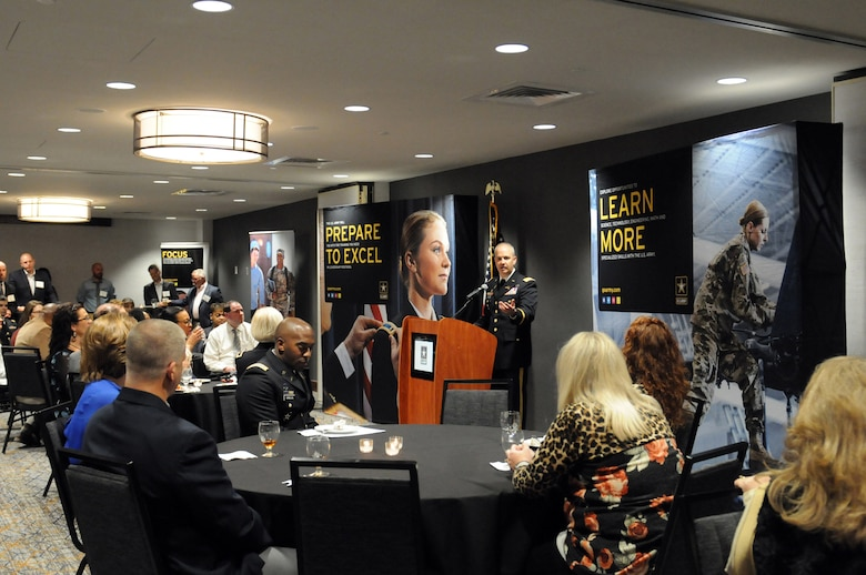 U.S. Army Col. John Oliver, Deputy Director, Army Marketing & Research Group, gives opening remarks during a reception, ahead of the 2018 U.S. Army Leadership Symposium held at Fort Leavenworth, Kansas, November 7-9, 2018.