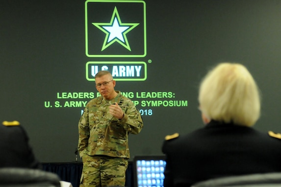 U.S. Army Lt. Gen. Michael Lundy, commanding general of the Combined Arms Center, gives remarks to educators and Army staff personnel during the 2018 U.S. Army Leadership Symposium held at Fort Leavenworth, Kansas, November 7-9, 2018.