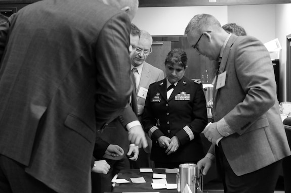 Brig. Gen. Kris A. Belanger, center, commanding general of the 85th United States Army Reserve Support Command, participates in a team building exercise with educators, principals and counselors during the 2018 U.S. Army Leadership Symposium held at Fort Leavenworth, Kansas, November 7-9, 2018.