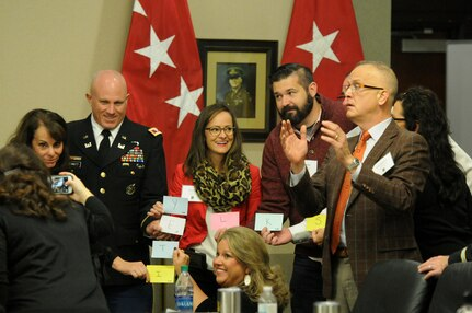 Educators, principals and counselors participate in a team building exercise during the 2018 U.S. Army Leadership Symposium held at Fort Leavenworth, Kansas, November 7-9, 2018.
