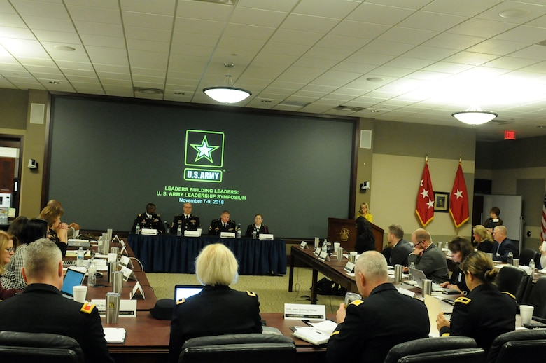 U.S. Army Soldiers answer speak on the next generation of Soldiers and leaders, and discuss their personal Army stories to educators, principals and counselors during the 2018 U.S. Army Leadership Symposium held at Fort Leavenworth, Kansas, November 7-9, 2018.