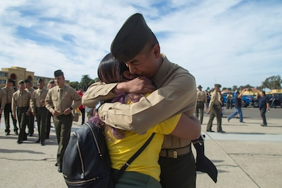 The new Marines of Fox Company, 2nd Recruit Training Battalion, reunite with their loved ones during Family Day at Marine Corps Recruit Depot San Diego, Nov, 15.