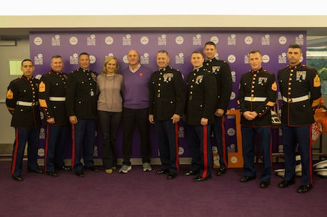 U.S. Marines with 6th Marine Corps District meet Dr. James P. Clements, president of Clemson University, and his wife, Beth Clements, at Clemson University, South Carolina, before Clemson's veteran's appreciation game Nov. 17, 2018. (U.S. Marine Corps photo by Sgt. Jorge A. Rosales)
