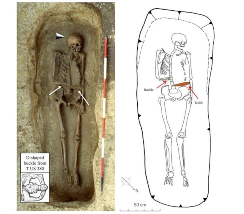 "A photo and drawing of the unearthed warrior ""Bob,"" equipped with his knife hand. (Ileana Micarelli and colleagues, Journal of Anthropological Sciences)"