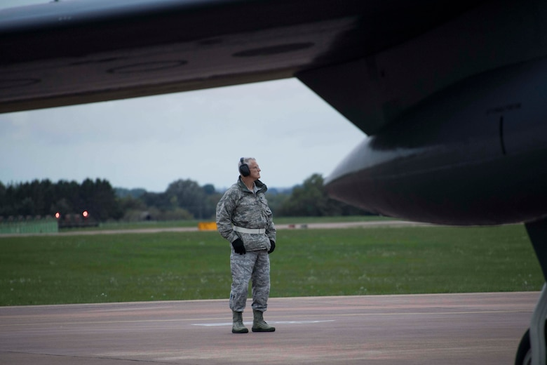 U.S. Air Force Lt. Col. Dwayne Slack, 307th Maintenance Group deputy commander, looks out over the flightline at RAF Fairford, England, Sept. 11, 2018.  He enlisted in 1988 in the Air Force Reserve and has served continuously for more than 30 years, including several deployments overseas. (U.S. Air Force photo by Master Sgt. Ted Daigle)