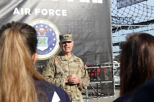 Air Force Installation and Mission Support Center Commander Maj. Gen. Brad Spacy talks to Air Force delayed enlistees before conducting their enlistment oath during opening ceremonies of the first Inter-service Alpha Warrior Final Battle Nov. 17, 2018, Retama Park, Selma, Texas. (U.S. Air Force photo by Debbie Aragon)