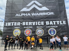 Army, Navy and Air Force competitors wait for the results of the first Inter-service Alpha Warrior Final Battle competition Nov. 17, 2018, at Retama Park, Selma, Texas. (U.S. Air Force photo by Debbie Aragon)