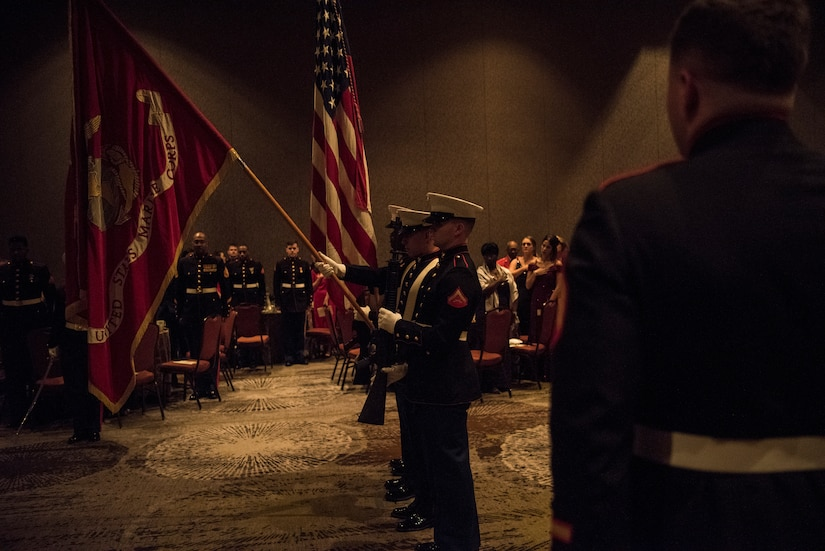 Members of a flag detail prepare to start the ceremony at the 243rd Marine Corps' Ball at the Charleston Area Convention Center Nov. 17, 2018, in Charleston, S.C. Retired Col. Arthur Sass, a naval science instructor at Eau Claire High School, delivered the keynote address during the ceremony. The Marine Corps was established on Nov. 10, 1775 and is celebrated with a traditional ball and cake-cutting ceremony.