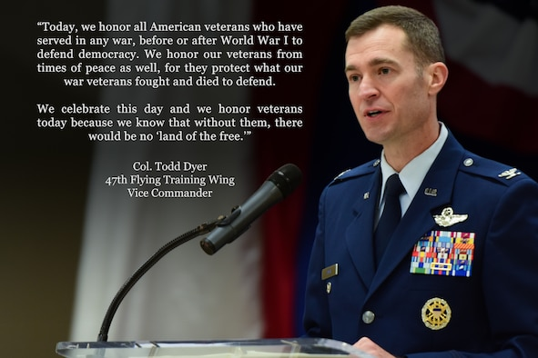 Col. Todd Dyer, 47th Flying Training Wing vice commander, is the focus of this week's Airman Spotlight. Dyer took a moment to express his thoughts on the significance of the day, and the importance that it has not only to him, but to all United States citizens. (U.S. Air Force graphic by Senior Airman Daniel Hambor)