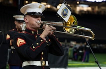Cpl. Cameron Street, a musician with the Marine Forces Reserve Band, plays the trombone during the 243rd annual Marine Corps birthday ball at the Mercedes-Benz Superdome, New Orleans, on Nov. 16, 2018. Every year, a birthday ball is hosted celebrating the birthday and traditions of the Marine Corps. (U.S. Marine Corps photo by Lance Cpl. Tessa D. Watts)