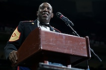 Sgt. Maj. Ronald L. Green, sergeant major of the Marine Corps, gives his final remarks during the 243rd annual Marine Corps birthday ball at the Mercedes-Benz Superdome, New Orleans, on Nov. 16, 2018. Green attended the ball as the guest of honor. (U.S. Marine Corps photo by Lance Cpl. Tessa D. Watts)