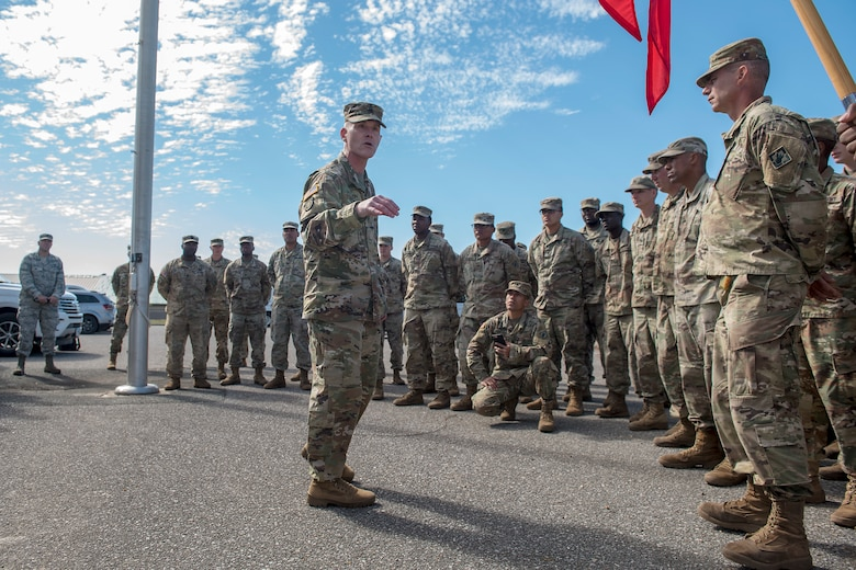 USACE sergeant major visits Tyndall, coins Soldiers