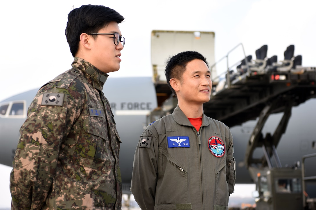 Members of the Republic of Korea Air Force participate in an interview prior to boarding a KC-10 Extender at Osan Air Base, Republic of Korea, Nov. 19, 2018. The 6th Air Refueling Squadron assigned to Travis Air Force Base, California, partnered with the 607th Air Mobility Division at Osan to provide the ROKAF members mentorship and experience with aircraft refueling for F-16 Fighting Falcons and A-10 Thunderbolt IIs assigned to the Seventh Air Force. (U.S. Air Force photo by Senior Airman Kelsey Tucker)