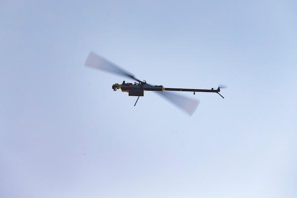 Lattice Modular Heli-Drone flies during test run of Lattice Platform Security System, at Red Beach training area, Marine Corps Base Camp Pendleton, California, November 8, 2018 (U.S. Marine Corps/Dylan Chagnon)