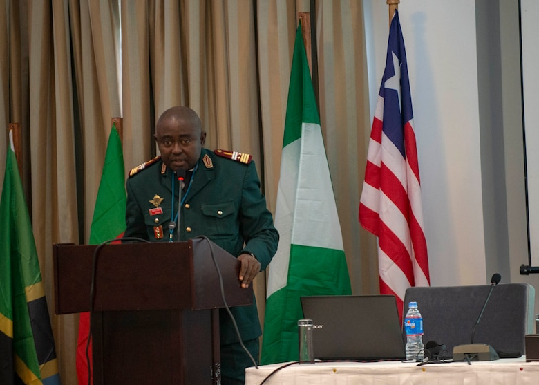 Lieutenant Colonel Julius Nwobegahay, Cameroonian Armed Forces, gives a presentation during an African Partner Outbreak Response Alliance (APORA) conference in Monrovia, Liberia. During APORA, military and civilian leaders will work together to align best practices and improve response capabilities for potential outbreaks of contagious diseases. The training will help bolster relationships with current partners, and mobilize new partners to strengthen pandemic programs. (U.S. Navy photo by Mass Communication Specialist 2nd Class Robert J. Baldock)