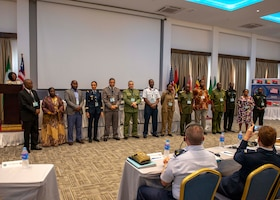 Delegates from African partner nations receive recognition for participating in an African Partner Outbreak Response Alliance (APORA) conference in Monrovia, Liberia. During APORA, military and civilian leaders will work together to align best practices and improve response capabilities for potential outbreaks of contagious diseases. The training will help bolster relationships with current partners, and mobilize new partners to strengthen pandemic programs. (U.S. Navy photo by Mass Communication Specialist 2nd Class Robert J. Baldock)