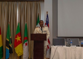 General Jeanot Essono Engueng, Armed Forces of Gabon, gives remarks during the closing ceremony of an African Partner Outbreak Response Alliance (APORA) conference in Monrovia, Liberia. During APORA, military and civilian leaders will work together to align best practices and improve response capabilities for potential outbreaks of contagious diseases. The training will help bolster relationships with current partners, and mobilize new partners to strengthen pandemic programs. (U.S. Navy photo by Mass Communication Specialist 2nd Class Robert J. Baldock)