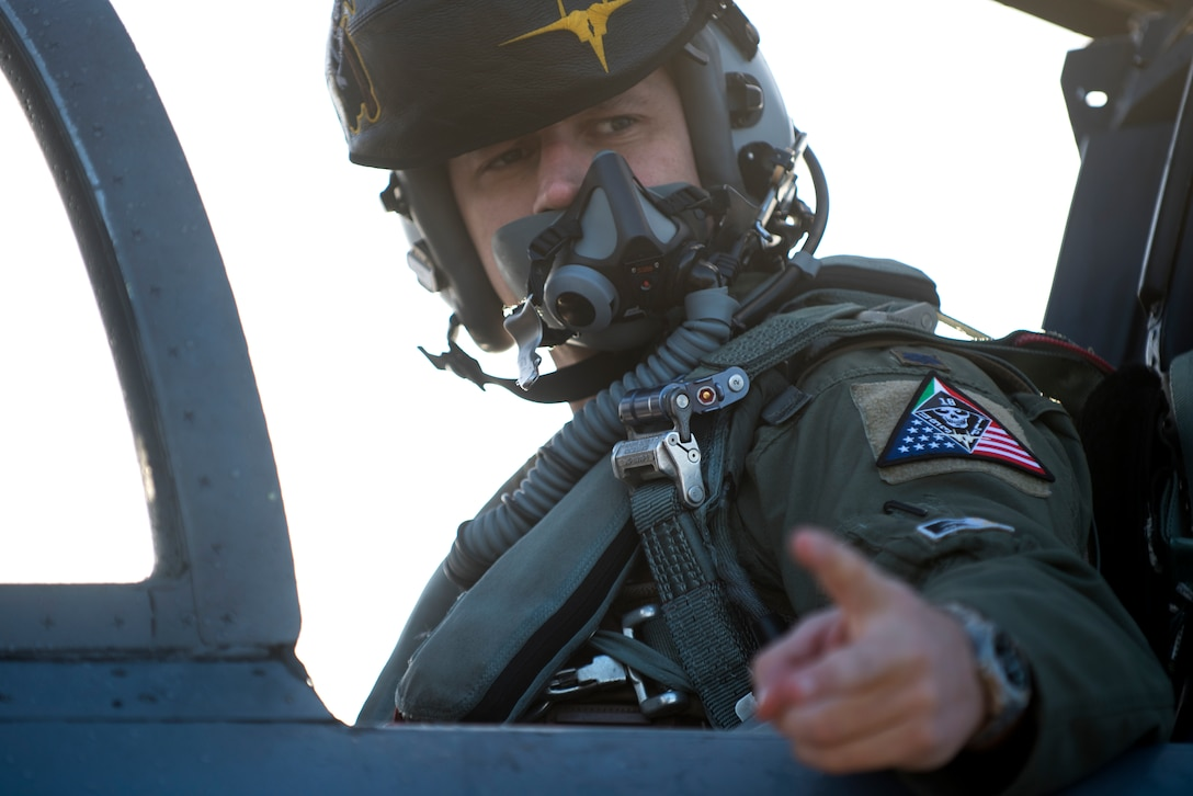 A pilot assigned to the 493rd Fighter Squadron prepares for a sortie during the NATO Tactical Leadership Programme 18-4 at Amendola Air Base, Italy, Nov. 20, 2018. The multilateral training course focuses on developing tactical air expertise and leadership skills. This event marks the first time the course has been held in Italy, from its normal host location at Albacete Air Base, Spain. (U.S. Air Force photo/ Senior Airman Malcolm Mayfield)