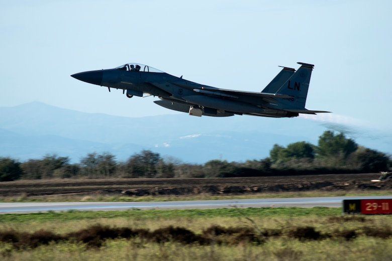 An F-15C Eagle assigned to the 493rd Fighter Squadron launches for a sortie during the NATO Tactical Leadership Programme 18-4 at Amendola Air Base, Italy, Nov. 20, 2018. The multilateral training course focuses on developing tactical air expertise and leadership skills. This event marks the first time the course has been held in Italy, from its normal host location at Albacete Air Base, Spain. (U.S. Air Force photo/ Senior Airman Malcolm Mayfield)