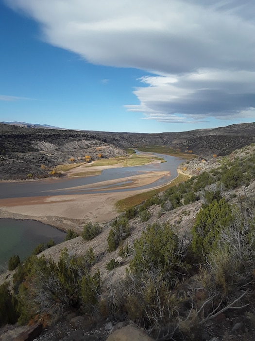 COCHITI LAKE, N.M. – A sediment bar at the upper portion of the lake is seen in this photo taken Nov. 8, 2018. Photo by Marcos Rosacker. This 2018 photo drive entry placed first based on employee voting.