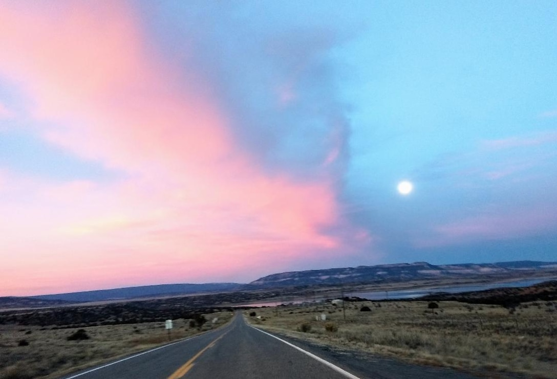 ABIQUIU LAKE, N.M. – The colorful clouds in the sky as seen on Highway 96 going to the lake, June 1, 2018. Photo by Clarence Maestas. This was a 2018 photo drive entry.