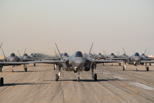 F-35A pilots from the 388th and 419th Fighter Wing prepare for takeoff as part of a combat power exercise at Hill Air Force Base, Utah. The exercise aims to confirm their ability to quickly employ a large force of jets against air and ground targets, and demonstrate the readiness and lethality of the F-35 Lightning II. As the first combat-ready F-35 units in the Air Force, the 388th and 419th FWs are ready to deploy anywhere in the world at a moment's notice. (United States Air Force photo/Cynthia Griggs)