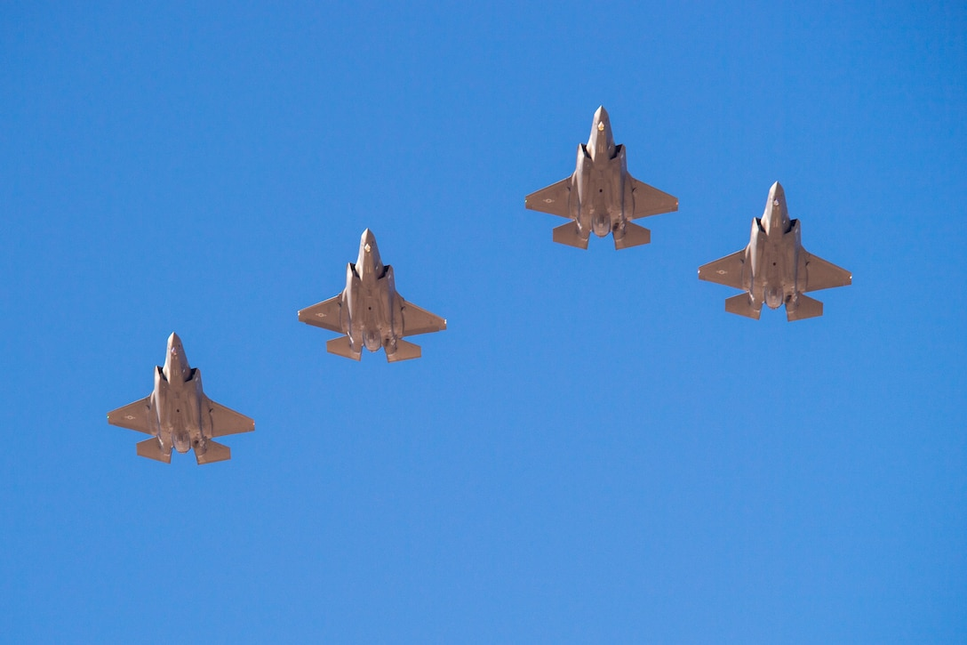 F-35A Lightning IIs from the 388th and 419th Fighter Wing fly by in formation as part of a combat power exercise at Hill Air Force Base, Utah. The exercise aims to confirm their ability to quickly employ a large force of jets against air and ground targets, and demonstrate the readiness and lethality of the F-35 Lightning II. As the first combat-ready F-35 units in the Air Force, the 388th and 419th FWs are ready to deploy anywhere in the world at a moment's notice. (United States Air Force photo/Cynthia Griggs)