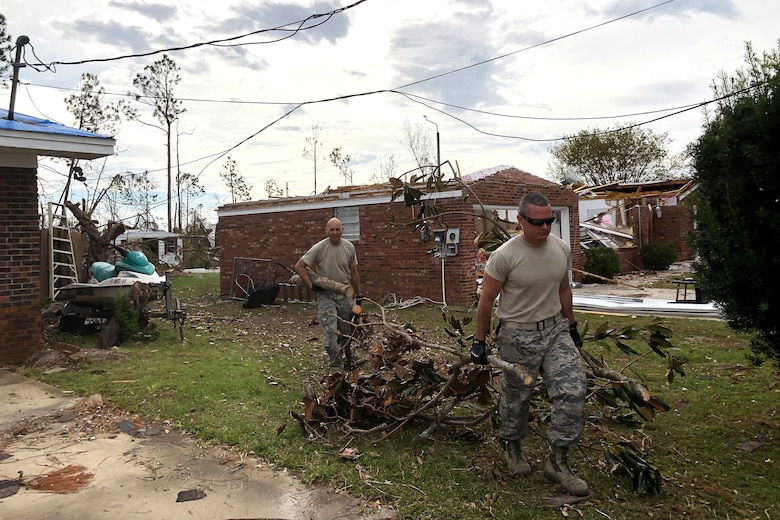 A team of nine U.S. Airmen from the South Carolina Air National Guard's 169th Civil Engineer and Medical Squadrons volunteered to help nudge Tyndall Air Force Base in Florida toward recovery after Hurricane Michael left the base in near complete destruction October 22-28, 2018. (U.S. Air National Guard courtesy photo)