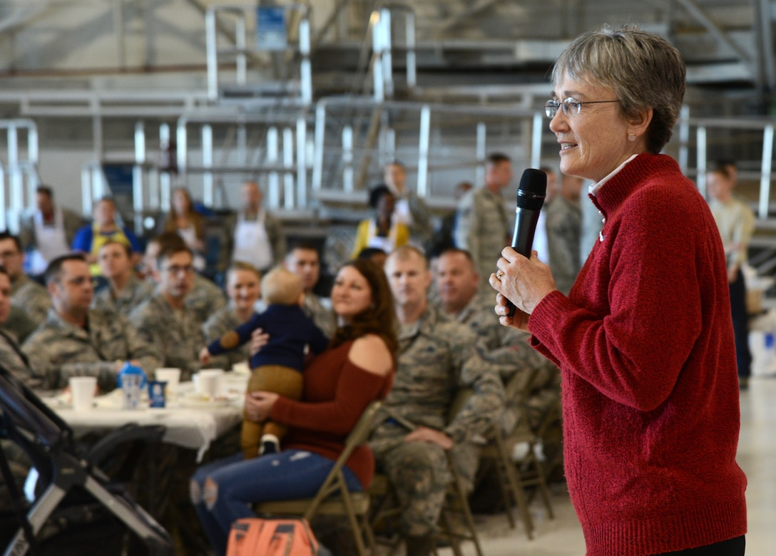Secretary of the Air Force Heather Wilson thanked members of the 552nd Air Control Wing and their families for their service during their Thanksgiving Reception Nov. 16. Wilson toured several locations around Tinker during her visit, including the KC-135 programmed depot maintenance line, the Maintenance Repair and Overhaul Technical Center, the 76th Software Maintenance Group and the Reverse Engineering and Critical Tooling Lab. She was also given an overview of the KC-46A complex, the B-1 Integrated Battle Station modification and was able to help serve lunch for the 552nd ACW.