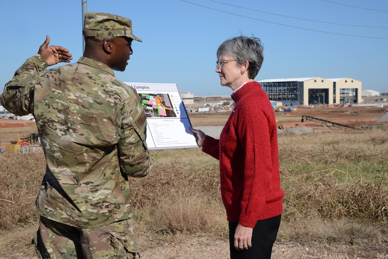 Col. Kenyon Bell, 72nd Air Base Wing commander, gives Secretary of the Air Force Heather Wilson, an overview of the KC-46A program and its maintenance campus under construction in the background during her visit to Tinker Air Force Base Nov. 16. This is Wilson's first visit to Tinker since becoming secretary.