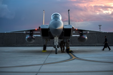 Airmen from the 48th Fighter Wing perform post flight checks on an F-15C Eagle at Amendola Air Base, Italy, Nov. 16, 2018. F-15C Eagles and an F-15D Eagle will be participating in the NATO Tactical Leadership Programme 18-4. TLP has prepared hundreds of NATO and allied forces' flight leaders to be mission commanders. (U.S. Air Force photo/ Senior Airman Malcolm Mayfield)