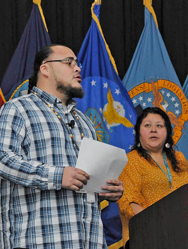 Pine Creek Indian Reservation Cultural Events Coordinator Danielle Pfeifer and Potawatomi Culture Specialist Kevin Harris II speak to DLA personnel during the Battle Creek site's Native American Heritage Month observation Nov. 8.