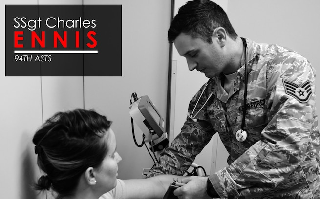 This week's Up Close features Staff Sgt. Charles Ennis, 94th Aeromedical Staging Squadron medical technician.