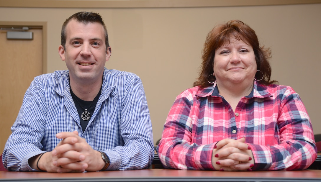 From left, Tinker Air Force Base's Exceptional Family Member Program Coordinators Joshua Kever, 72nd Force Support Squadron, and Sharon Noones, 552nd Operations Support Squadron, help active duty Airmen and Sailors and their families with special needs.