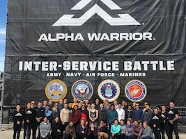 The Air Force team from across the globe stand together Nov. 17, 2018, at the Alpha Warrior Competition held at the Alpha Warrior Proving Grounds, Selma, Texas. The goal of the Alpha Warrior program is to increase functional fitness and mindfulness of today's military members. (Curtesy photo)
