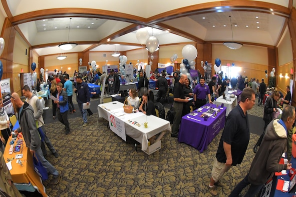 Military and civilians employees during the 75th Force Support Squadron Winter Expo Nov. 15, 2018, at Hill Air Force Base, Utah. This year's expo showcased vendors and information from 30 colleges, local ski resorts and even Disney, with the intent of building a thriving and resilient community through travel, recreation, education, wellness, and fun. (U.S. Air Force photo by Todd Cromar)