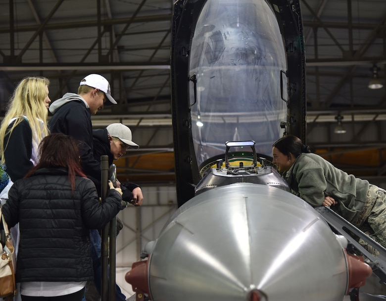 Attendees at the South Dakota Air National Guard career day were shown several areas of the unit that might be of interest to them including getting a close-up view of the cockpit of an F-16 Fighting Falcon.
