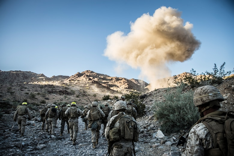 An Anti-Personnel Obstacle Breaching System (APOBS) is detonated during a predeployment training exercise at Marine Corps Air Ground Combat Center Twentynine Palms, Calif., Nov. 11, 2018. Marines with Kilo Company, Battalion Landing Team 3rd Battalion, 5th Marine Regiment, 11th Marine Expeditionary Unit used the APOBS to breach multiple concertina wire obstacles at the Combat Center's Range 400. (U.S. Marine Corps photo by Lance Cpl. Dalton S. Swanbeck)