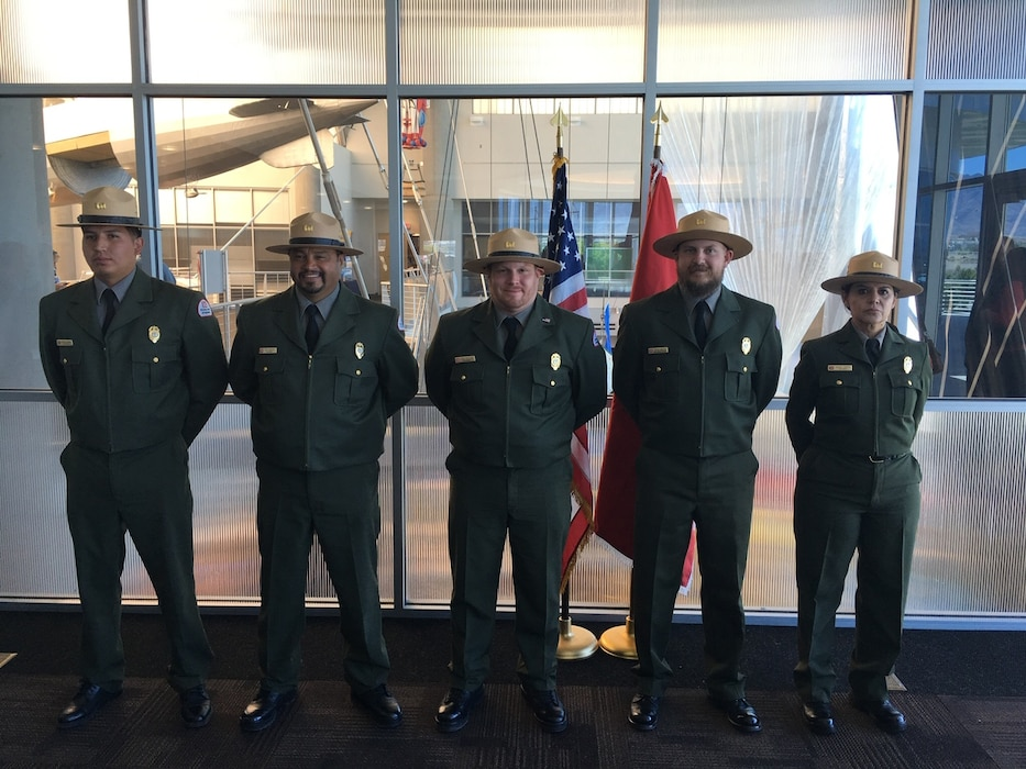 ALBUQUERQUE, N.M. – The color guard after the District's Change of Command ceremony, May 18, 2018. From l-r: park rangers Nathaniel Naranjo (Abiquiu); Paul Sanchez (Santa Rosa); John Mueller (Abiquiu); Trevor Wallin (Cochiti); and Nadine Carter (Conchas). Photo by Ronald Carter. This was a 2018 photo drive entry.