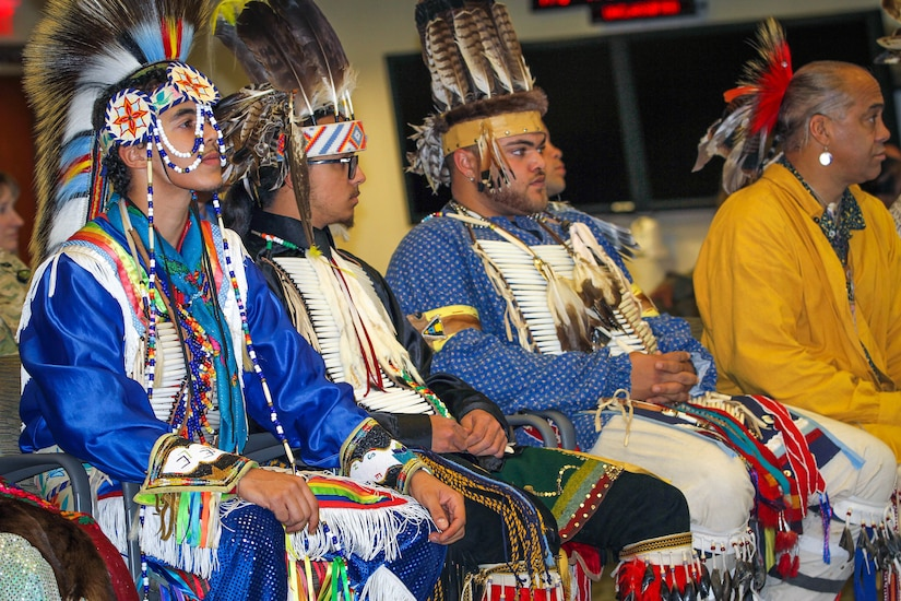 Members of the Lumbee Tribe of North Carolina wait to perform traditional dances at U.S. Army Central's National American Indian Heritage Month observance Nov. 15, 2018, at Patton Hall on Shaw Air Force Base, S.C. The Lumbee tribe comprises 55,000 members and is the largest tribe in North Carolina.