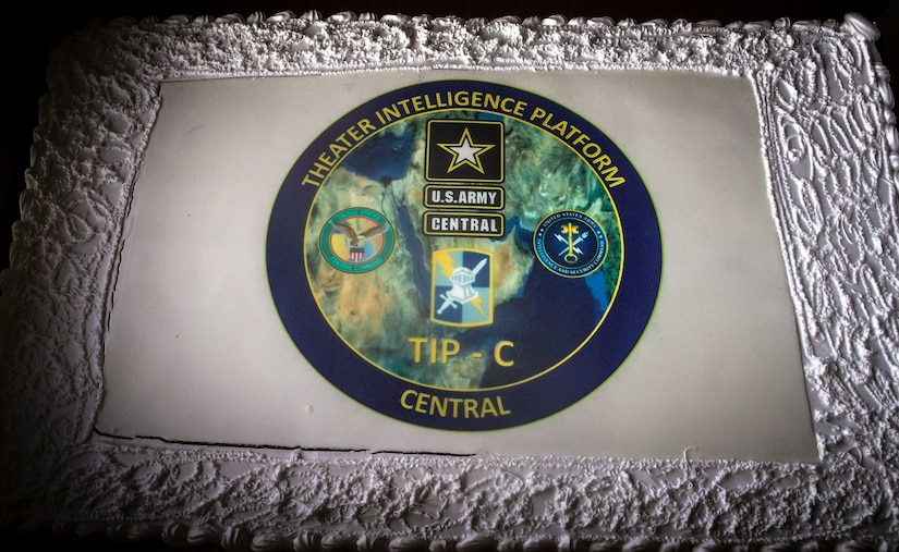 The cake presented to the U.S. Army Soldiers and civilian contractors of the Theater Intelligence Platform-Central office who spent their Veterans Day cleaning up excess scrap materials from their workplace at Camp Arifjan, Kuwait, Nov. 11, 2018. Promoting good unit morale enhances unit cohesion and reinforces the importance of excellence.